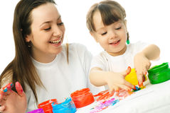 Mother nad daughter painting together Royalty Free Stock Photo