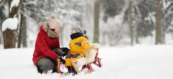 Mother/nanny talk with small child during sledding in winter park. Family winter activities outdoors royalty free stock photos