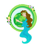 Mother nature. Abstract woman hugging planet earth Royalty Free Stock Photography