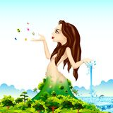 Mother Nature. Illustration of lady representing mother nature with natural scene Royalty Free Stock Photos