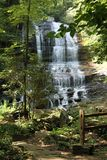 Waterfall in the forest. Mother nature artwork, relaxing scenery. Waterfall in a sunny day in a forest Stock Images