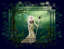 Mother Nature Fantasy Background. This lovely background was created with a outdoor nature themed tag and a beautiful blonde hair woman with a staff. This is vector illustration
