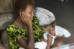 Mother and newborn Baby, Rabaul, Papua New Guinea royalty free stock images