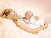 Mother and Newborn Baby, Happy Mom Holding New Born Kid. Mother and Newborn Baby, Happy Woman Holding New Born Kid on breast Stock Photography