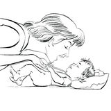 Mother and newborn baby love Stock Images