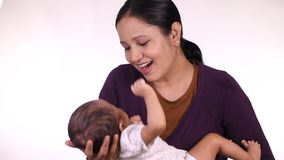 Mother and newborn baby love stock video footage