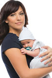 Mother and newborn baby. Portrait of mother holding newborn baby son in her arms Stock Photos