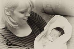 Mother and newborn child Stock Photo