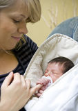Mother and newborn child Stock Photo