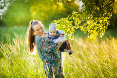 Mother with the newborn son Royalty Free Stock Photos