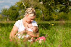 Mother nursing baby on meadow. Mother breastfeeding her baby on a great sunny day in a meadow with lots of green grass and wild flowers