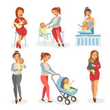 Mother nursing newborn child vector flat icons. Mother nursing newborn child bathing, feeding or walking in baby carriage and holding on hands. Vector isolated Royalty Free Stock Photo