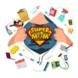 Mother open shirt to show Super Mom icon with housework objects stock illustration