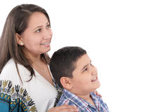 Mother with orthodontics and son Stock Image