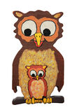 Mother owl and baby owl, wooden puzzle Royalty Free Stock Photo