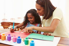 Mother Painting Picture With Daughter At Home Royalty Free Stock Photos