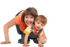 Mother palying with her son Stock Image