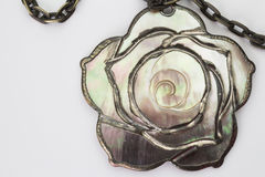 Mother of pearl pendant and chain Stock Images
