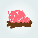 Mother pig with little pigs in a puddle. Cute pink pigs family in a mud puddle. Vector illustration Stock Images