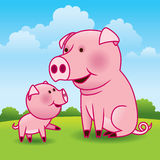 Mother Pig and Piglet. Sweet cartoon illustration of a mother pig and her playful piglet Stock Photography