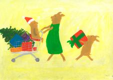 Mother pig and two piglets make New Year purchases. stock illustration