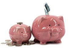 Mother piggy bank with piglet Royalty Free Stock Photography