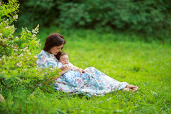 Mother play with baby son summer Stock Photography