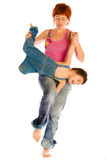 Mother play with son. Mother holds son and jumping Royalty Free Stock Photos
