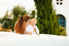 Mother playing with baby outdoor Stock Photography