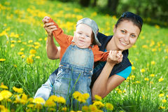Mother playing with child boy Royalty Free Stock Photo