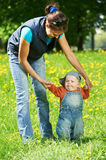 Mother playing with child boy Royalty Free Stock Image
