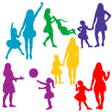 Mother playing with child. Vector, isolated, silhouette of mother playing with child, collection Royalty Free Stock Image