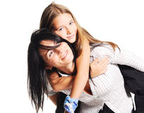 Mother playing with daughter. On white background Stock Image