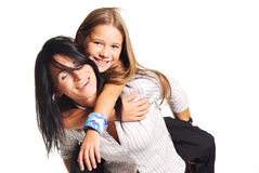 Mother playing with daughter. White background Royalty Free Stock Image