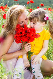 Mother playing with her child in poppy field Royalty Free Stock Images