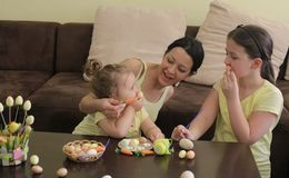 Easter and funny face stock photo