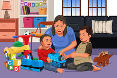 Mother playing with her kids. A vector illustration of mother playing with her happy kids together Stock Images