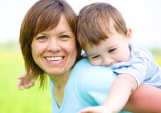 Mother is playing with her son Royalty Free Stock Photography