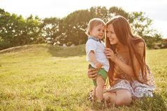 Mother playing with her son Royalty Free Stock Images