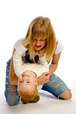Mother playing with her son Royalty Free Stock Photos