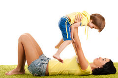 Mother playing with her son Royalty Free Stock Photo