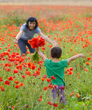 Mother playing with her toddler child in poppy field stock photos