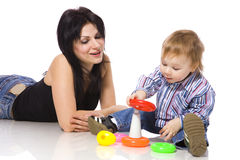 Mother playing with son Royalty Free Stock Images