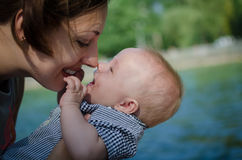 Mother plays with baby Stock Photography