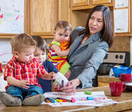 Mother Plays With Children Stock Image
