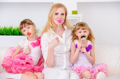 Mother plays with daughters Royalty Free Stock Photography