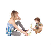 Mother plays with little boy. Royalty Free Stock Photos