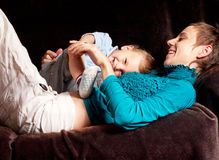 Mother plays with little son Royalty Free Stock Photos