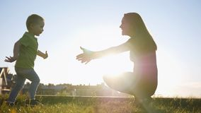 Mother plays with son in summer sunset park - child running to mommy. Telephoto Royalty Free Stock Images