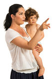 Mother pointing away to her toddler Royalty Free Stock Photo
